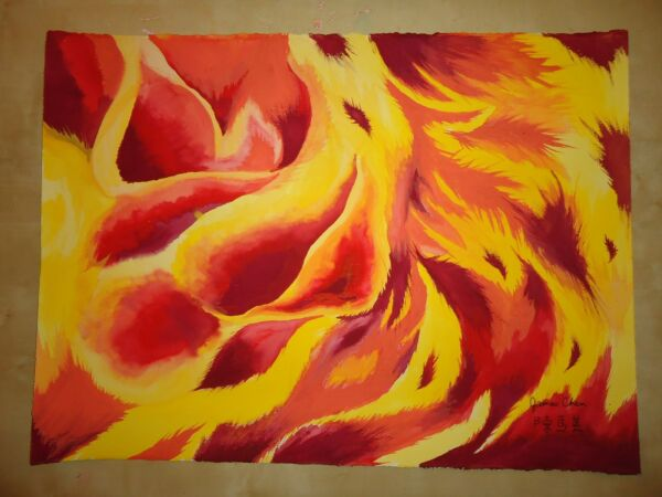 ORIIGINAL HUGE PAINTING ENTITLED  '' THE BURNING FLAME'' BY ARTIST JAMES CHEN