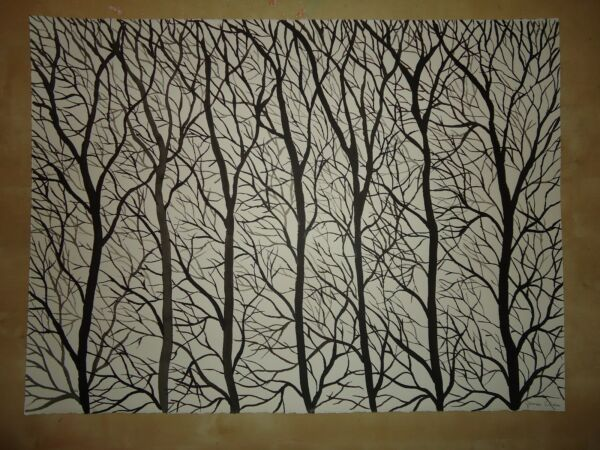 ORIIGINAL HUGE PAINTING ENTITLED  '' TREES 2 '' BY ARTIST JAMES CHEN