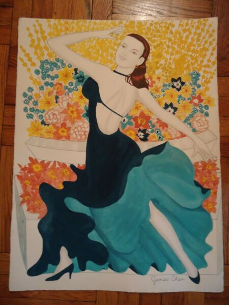 ORIIGINAL WATER COLOR PAINTING WOMAN DANCING IN BLUE DRESS BY ARTIST JAMES CHEN