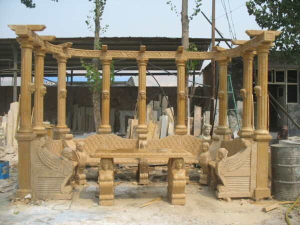 GREAT HAND CARVED MARBLE OUTDOOR GARDEN ESTATE HEAVY CARVED  BENCH- #65