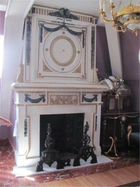 INCREDIBLE HAND CARVED MARBLE INTRICATE ESTATE FIREPLACE MANTEL - LY096