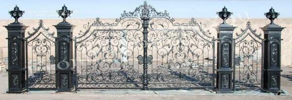 HAND MADE WROUGHT IRON LARGE VICTORIAN STYLE DRIVEWAY GATES - IDG6