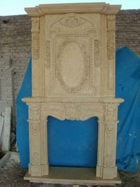 BEAUTIFUL HAND CARVED LARGE ESTATE EGYPT CREAM FIREPLACE MANTEL - FPW21