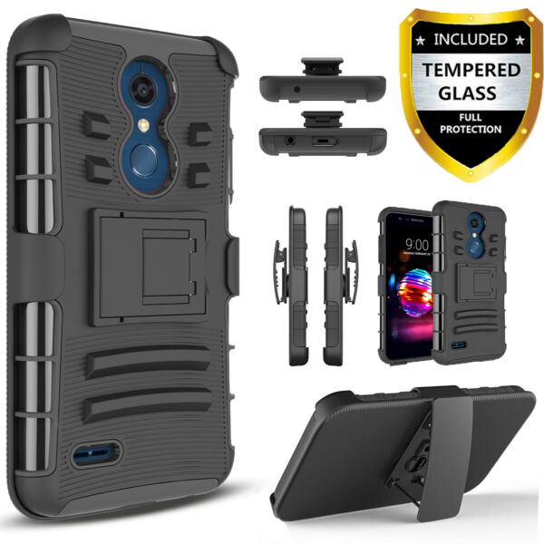 For LG K30 Premier Pro LTE Xpression Plus CaseClip+Tempered Glass Protector