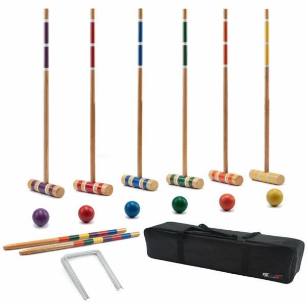 Premium 6-Player Croquet Set for Adults & Kids (Several Styles Available)