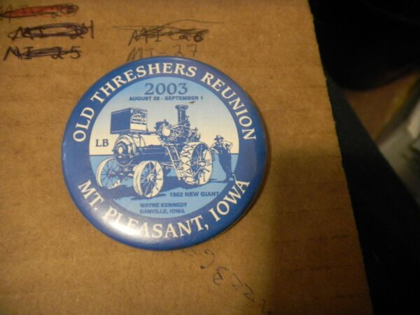Button pin Midwest Settlers Threshers Mt Pleasant Steam engine Iowa new giant