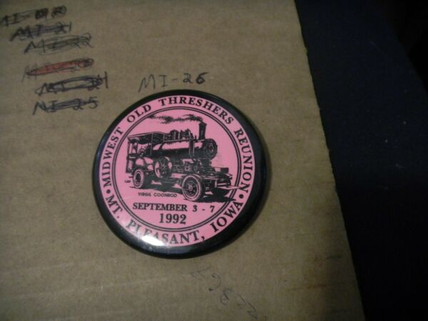 Button pin Midwest Settlers Threshers Mt Pleasant Steam engine Iowa Coonrod