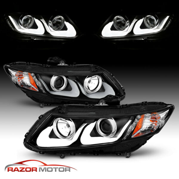 U Shape LED For 2012 2013 2014 2015 Honda Civic 2 4Dr Projector BLK Headlights