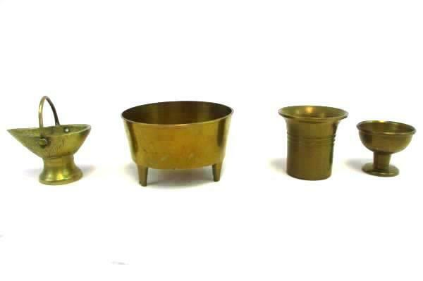 Vtg Lot Mini Brass Cup Wine Glass Goblet Planter Pail Coal Bucket Communion