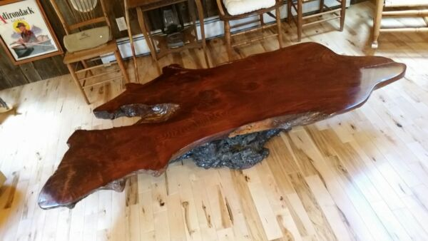 Redwood Burl Coffee Table live edge wood slab. 78 inch x 38 inch x 16