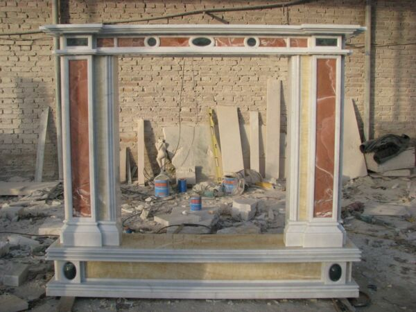 BEAUTIFUL MULTI COLORED HAND CARVED MARBLE FIREPLACE MANTEL -LM041