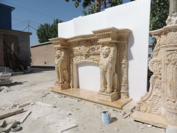 BEAUTIFUL HAND CARVED MARBLE EUROPEAN LION MARBLE FIREPLACE MANTEL -LFM5