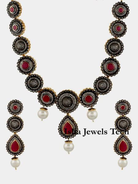 Natural Rose Cut Diamond & Ruby 925 Sterling Silver Necklace Earrings Set