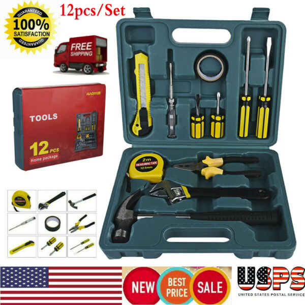 12 PCS Household Tools Garden Home Tool Set Kit Box Repair Hard Case DIY Handy