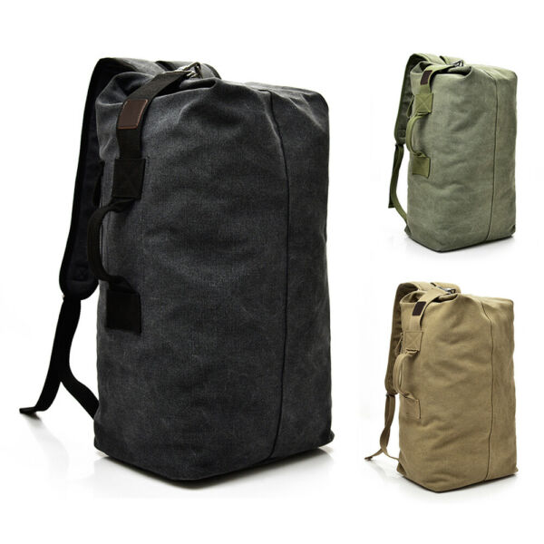 Men#x27;s Canvas Backpack Rucksack Hiking Travel Duffle Bag Military Handbag Satchel $17.99