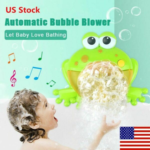 Bubble Machine Big Frog Automatic Bubble Maker Blower Music Bath Toys For Baby H