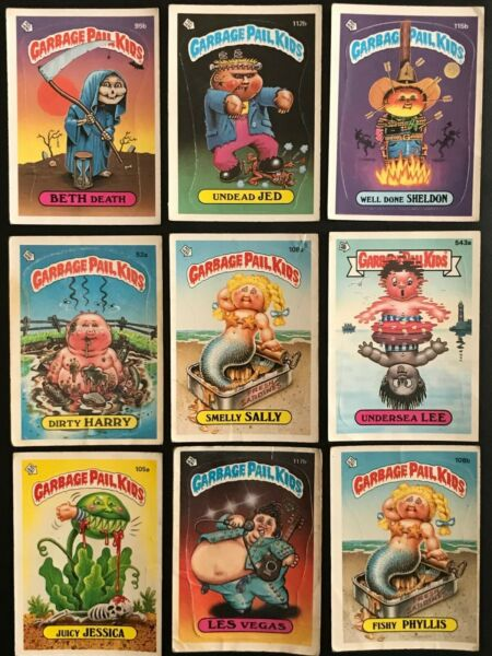 1986 TOPPS GARBAGE PAIL KIDS a&b 24 CARDS TOTAL WITH 2 GROSSIVELL HIGH CARDS
