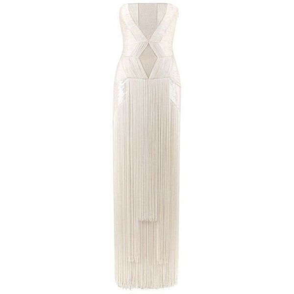 Atelier VERSACE SS 2011 White Sequin Embellished Fringe Art Deco Evening Gown