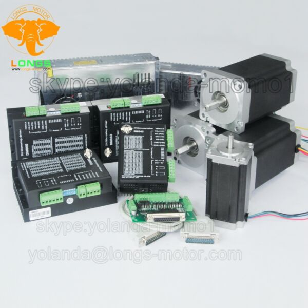 Stepper Motor 3Axis Nema 34 1600oz-in+1Axis Nema23 425OZ.IN Free ship US CA EU