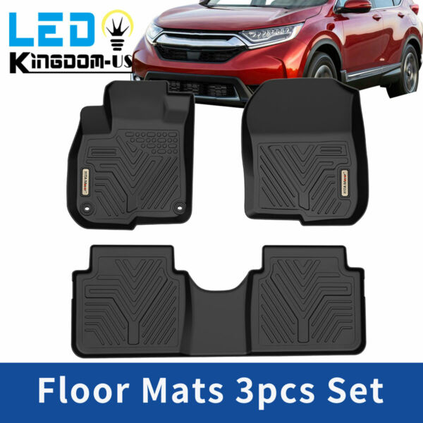 For 2017 2021 Honda CR V All Weather Floor Mats Liners 1st amp; 2nd Row Black 3PCS
