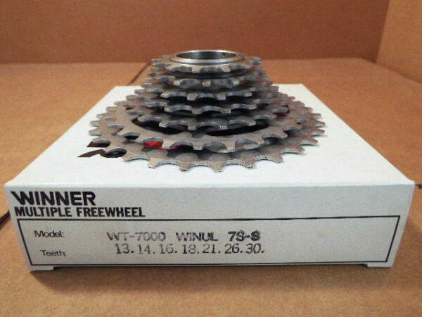 New-Old-Stock Suntour Winner Ultra 7-Speed Freewheel (13x30) wSilver Finish