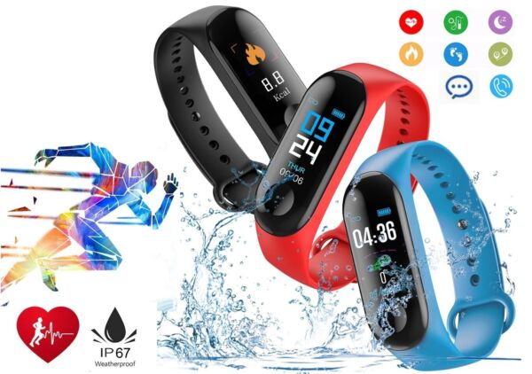 Smart Band Watch Bracelet Wristband Fitness Tracker Blood Pressure Heart Rate M3