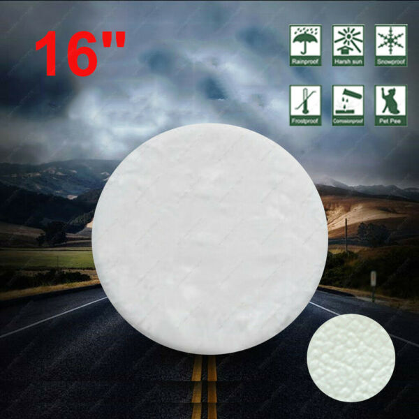 16 inch DIY Trailer Spare Tire Tyre Wheel Cover White Heavy Duty Vinyl Material $28.61