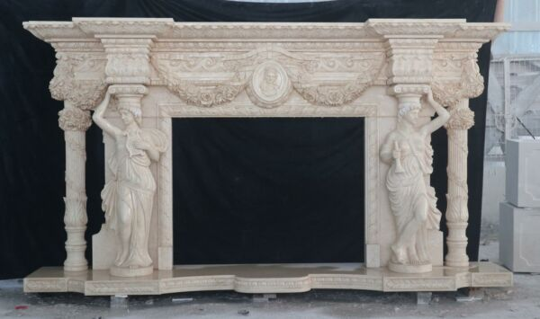 BEAUTIFUL HAND CARVED MARBLE FIGURATIVE ESTATE  FIREPLACE MANTEL - MFP98