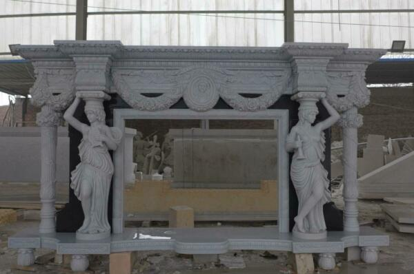 INCREDIBLE HAND CARVED MARBLE FIGURATIVE  FIREPLACE MANTEL - MFP98W