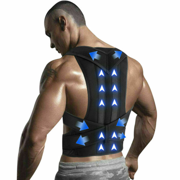 Adjustable Back Posture Shoulder Corrector Support Lumbar Brace Belt Men Women