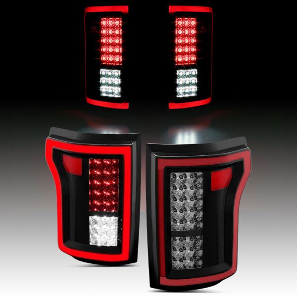 2015-2017 Ford F-150 Pickup Red Black Smoke Full LED Brake Tail Lights Pair 2016