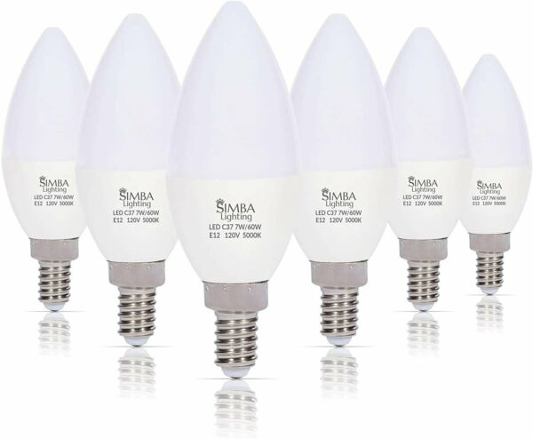[6 Pack] LED Candelabra B11 C37 Bulb 7W 60W Replacement E12 Base 120V 5000K Day