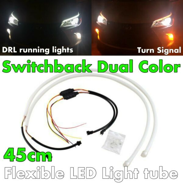 45cm Switchback Universal Rubber LED DRL Flexible Turn Signal For IN NIS