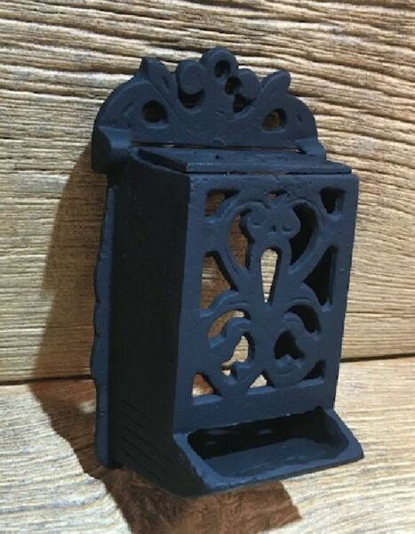 Cast Iron Black Reproduction Fireplace Match Holder 7