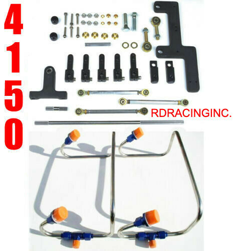 DUAL INLET 4150 MECH BLOWER FUEL LINES BLUE COLOR KIT HOLLEY LINKAGE COMBO $329.99