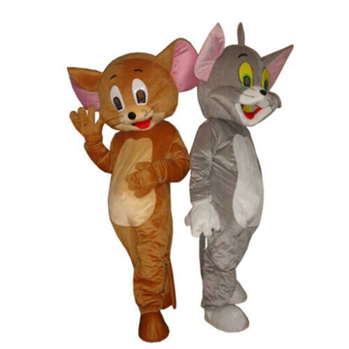 Tom Cat and Jerry Mouse Mascot Costume Adult Size Tom Cat and Jerry Mouse