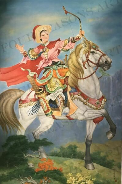 """Mulan on Horseback"" by Zhang Xing. Original Oil Painting on High Quality Burlap"