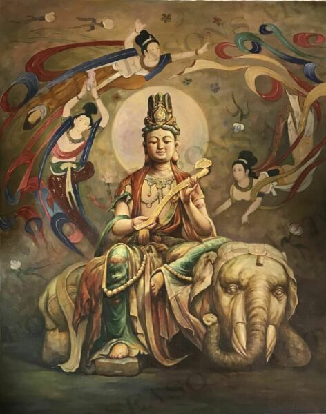 """Buddha with Elephant"" by Zhang Xing. Oil Painting on High Quality Burlap Canvas"