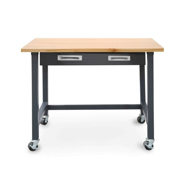 Seville Classics WEB484 UltraGraphite Wood Top Workbench on Wheels with Slidi...
