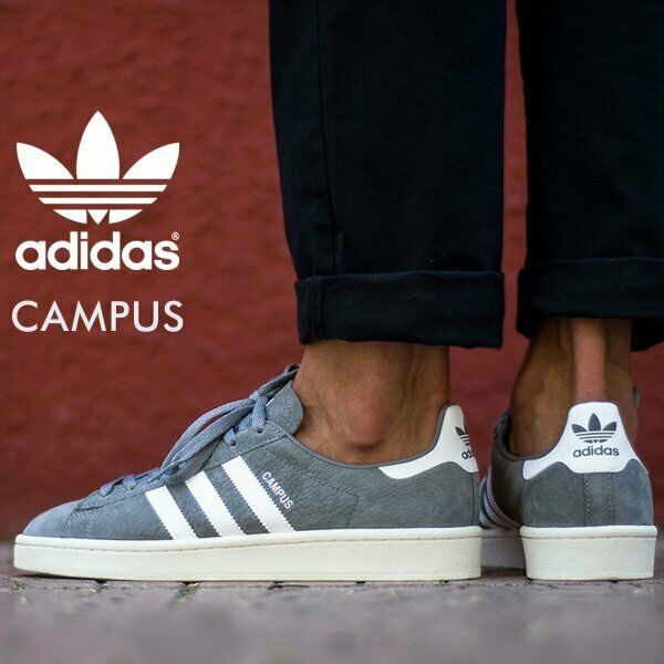 Mens Adidas Campus Originals Sneakers, Gray / White BZ0085 sz 9 New in Box