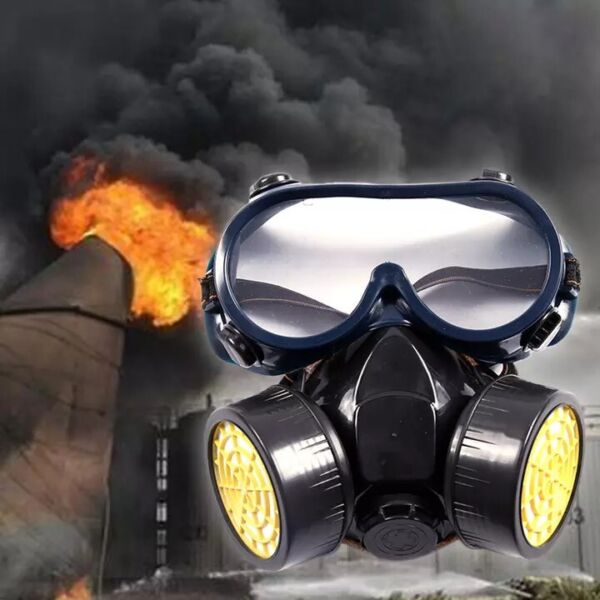 Emergency Survival Safety Respiratory Gas Mask Goggles amp;2 Dual Protection Filter