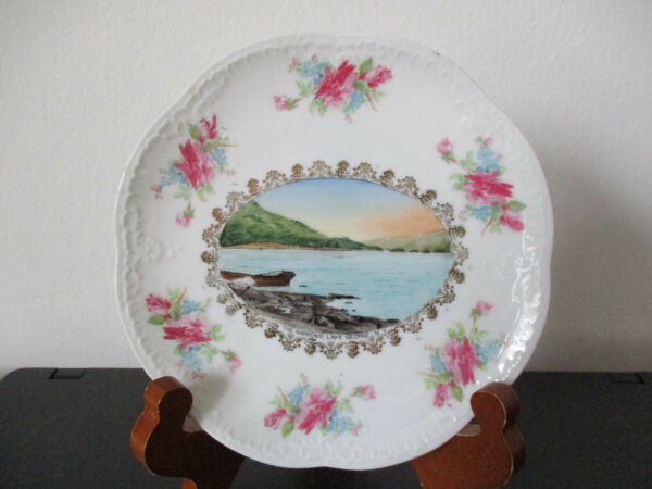 Circa 1910 Souvenir Eggshell Porcelain Dish The Narrows Lake George New York