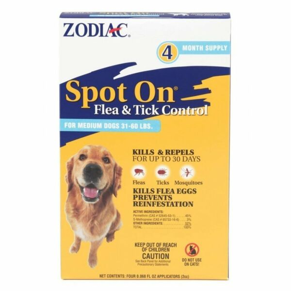 Zodiac Spot OnMedium for dogs 31 60 lbs flea and tick control 4 pack $11.95
