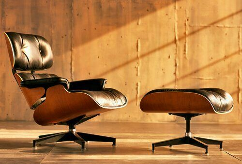 Premium Eames Lounge Chair & Ottoman Genuine Black Leather Palisander Wood