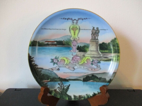 Circa 1910 Souvenir Porcelain Plate Lake George Adirondack Mountains New York