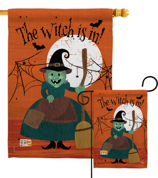The Witch is in!-Fall Happy Halloween Spider Web Garden Yard Banner House Flag