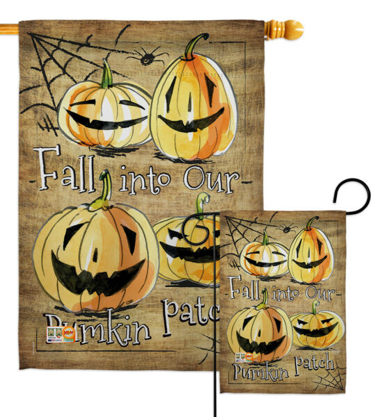 Halloween Pumpkin Patch-Fall Spider Trick Or Treat Garden Yard Banner House Flag