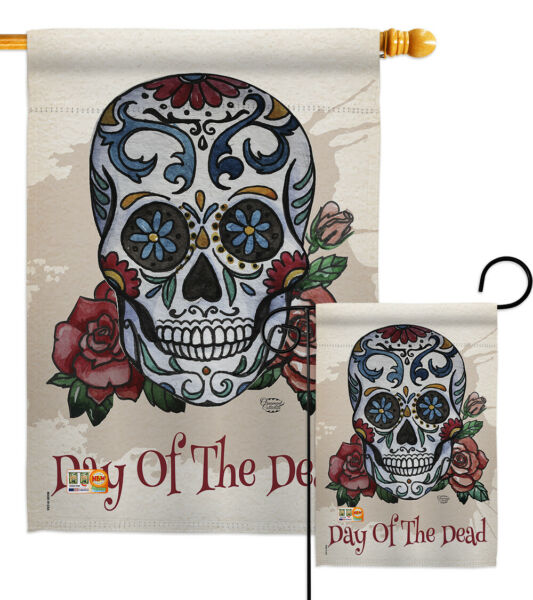 Day of the Dead-Fall Sugar Skull Halloween Mexico Garden Yard Banner House Flag