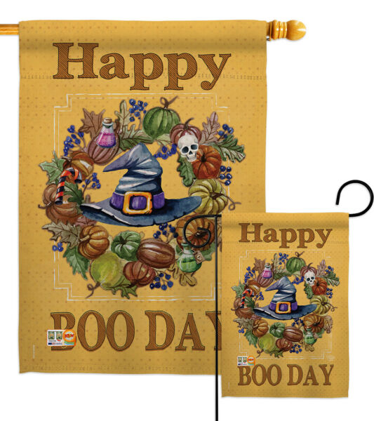 Happy Boo Day - Fall Witch Hat Wreath Halloween Garden Yard Banner House Flag
