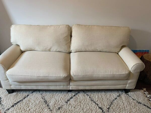 Modern Upholstered Loveseat Sofa Linen Couch Beige PICK UP ONLY FROM PHILLY $485.00